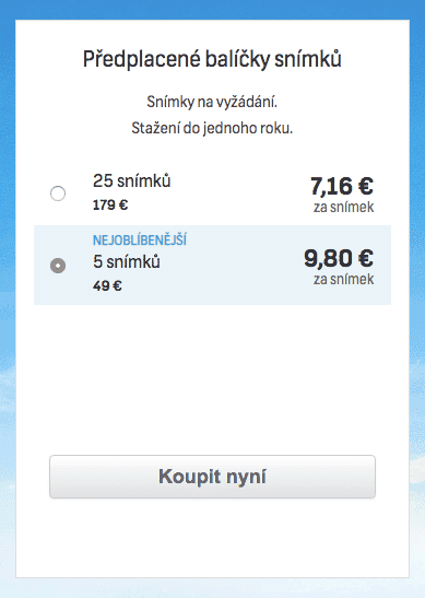 Snímek obrazovky Shutterstock - balíčky - ceny