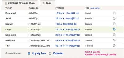 snímek obrazovky nabídky kreditů na Dreamstime