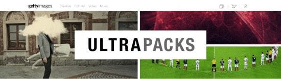 Snímek obrazovky Ultrapacks od Getty images