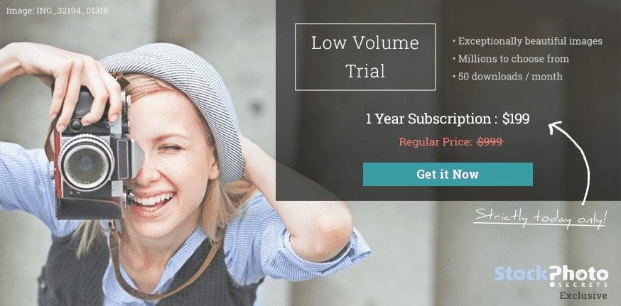 Nabídka Low Volume Trial od Stockphotosecrets